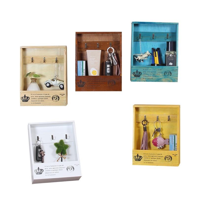 美式鄉村復古木質壁掛鑰匙盒 收納盒 置物架