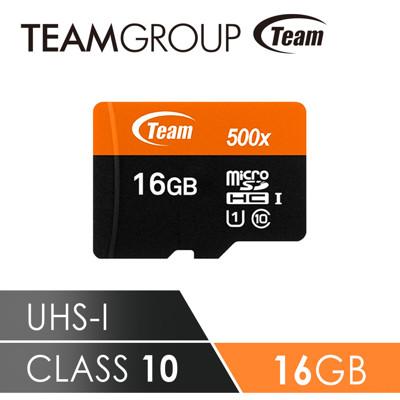 Team十銓科技 500X MicroSDHC UHS-I 超高速記憶卡(附贈轉卡) 16GB (8.2折)