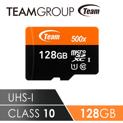 Team十銓科技 500X MicroSDHC UHS-I 超高速記憶卡(附贈轉卡) 128GB (8折)