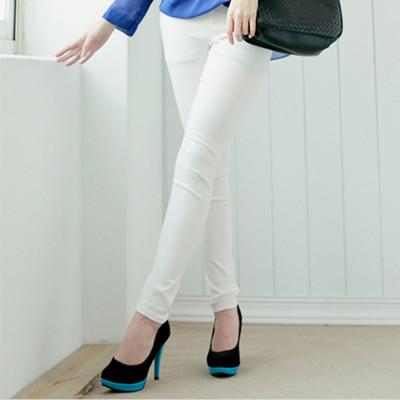素色彈性內刷毛窄管褲 (2.5折)