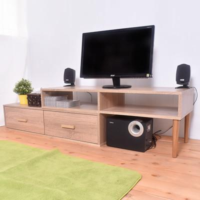 凱堡 雙層活動電視櫃組 簡易組裝 木紋風【P16041】 (4.5折)