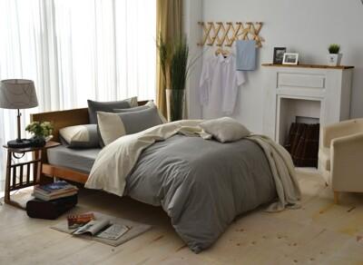 【班尼斯】【百貨專櫃級6尺雙人加大床包枕套組】【多簡單-素色雙拼系列】精梳純棉/寢具/床單/床包