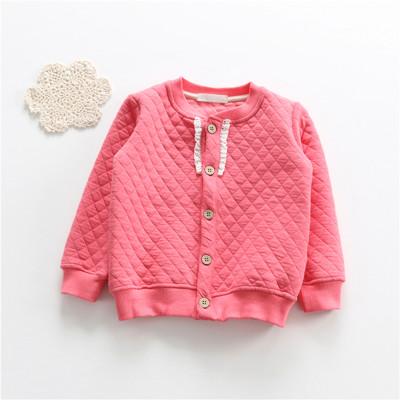 日系實用簡約女童外套秋冬空氣棉蕾絲領邊外套開衫 (5折)