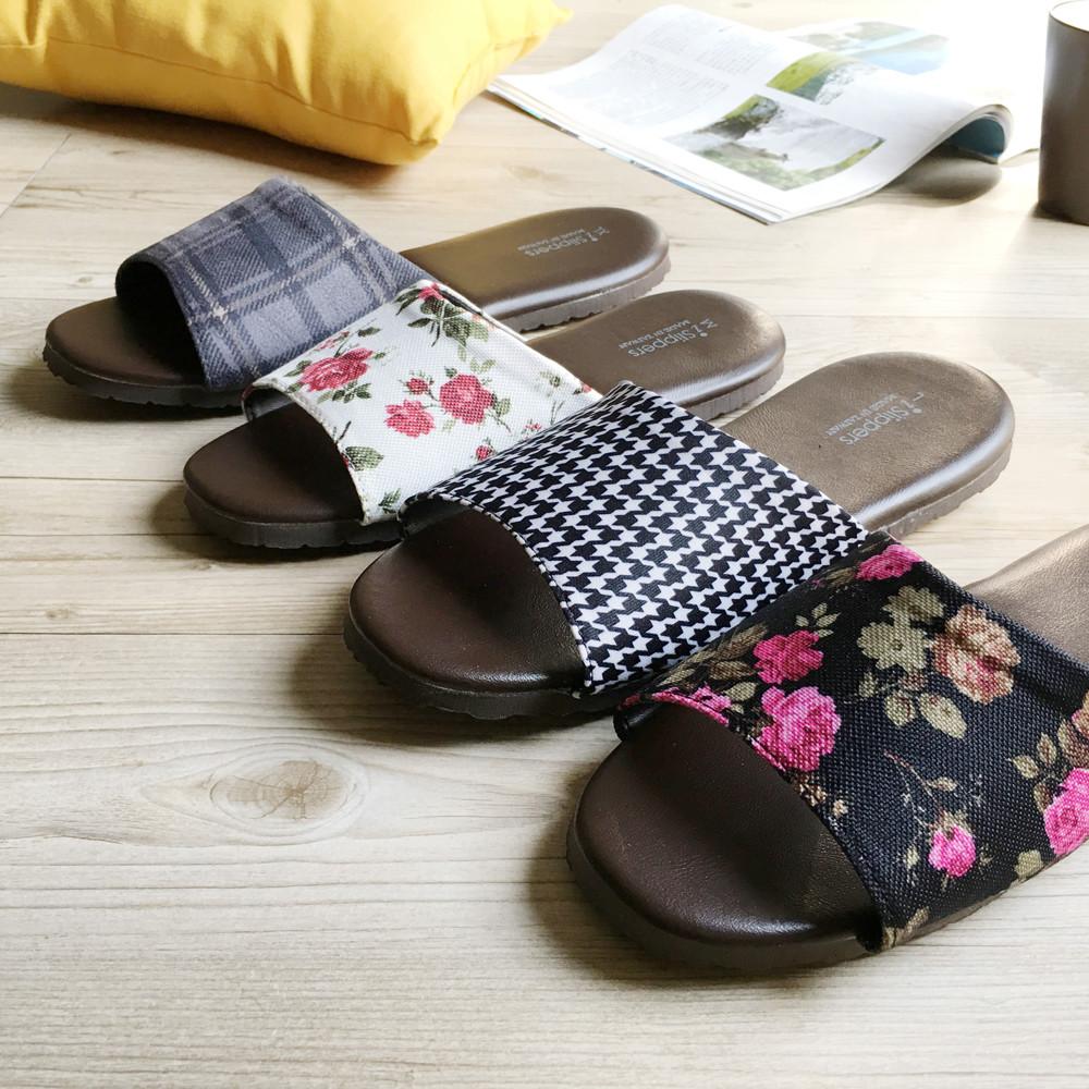 台灣製造-舒適耐穿-品味系列-布面皮質室內拖鞋