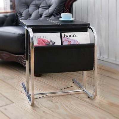 低鉛馬鞍皮革加厚鐵管雜誌架/書報架/邊桌/小茶几桌/邊櫃 SH008 (5.8折)