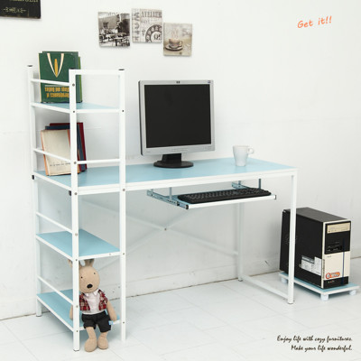 多彩層架電腦鍵盤電腦桌(加贈主機架) 工作桌/辦公桌/書櫃型書桌 TA016 (6折)