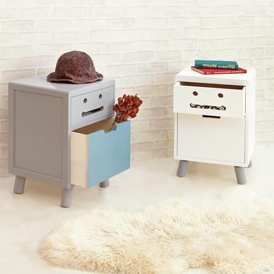 微笑笑臉實木櫃腳二抽收納櫃/抽屜櫃/邊櫃/置物櫃 BO074