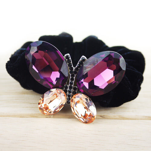 粉紅堂 髮飾大顆水晶蝴蝶髮束紫色