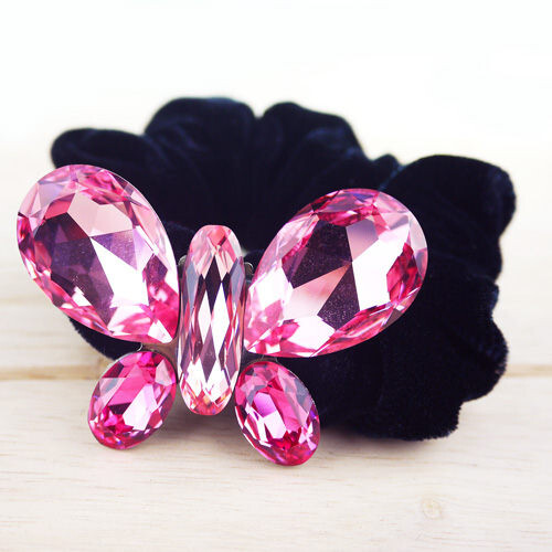 粉紅堂髮飾大顆水晶蝴蝶髮束 粉紅色