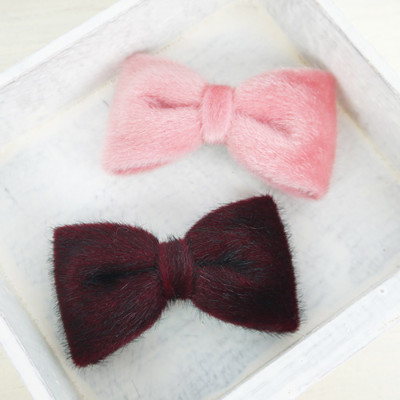 【PinkyPinky Boutique】短毛絲絨蝴蝶結髮夾 *粉紅色/紅色 * (3.6折)
