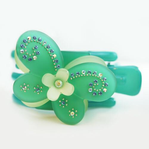 粉紅堂 髮飾美麗蝴蝶水鑽抓夾 綠色