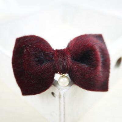 【PinkyPinky Boutique】垂珠短毛絲絨蝴蝶結髮夾 *紅色/粉紅色 * (3.6折)