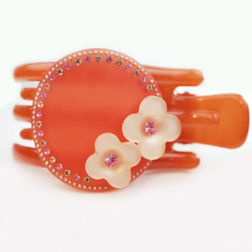 粉紅堂 髮飾捲髮 甜美金牛座女生 花朵水鑽抓夾 橘色
