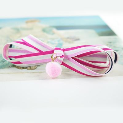 【粉紅堂 髮飾】條紋粉紅白雙色球球 蝴蝶結髮夾/美麗條紋球球 蝴蝶結髮夾/條紋緞帶 蝴蝶結髮箍 (2.8折)