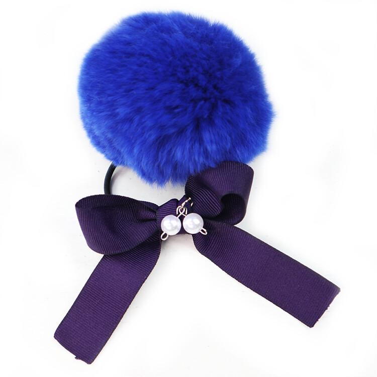 粉紅堂 髮飾甜美毛球蝴蝶結髮束 藍色/粉紅色/灰色