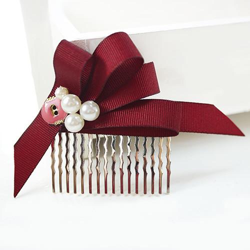 pinkypinky boutique小美人珍珠緞帶法國梳