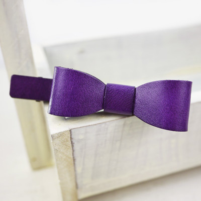 【PinkyPinky Boutique】真皮蝴蝶結髮夾 *紫色/粉紅色/綠色* (4.1折)