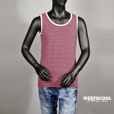 【WEEFSCOOL】 MIT 舒適彈性棉質細條紋背心 (男) 紅黑 (3.9折)