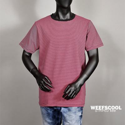 【WEEFSCOOL】 MIT 舒適彈性棉質細條紋短袖上衣 (男) 紅黑 (4折)