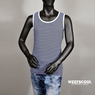 【WEEFSCOOL】 MIT 舒適彈性棉質細條紋背心 (男) 藍黑 (3.9折)
