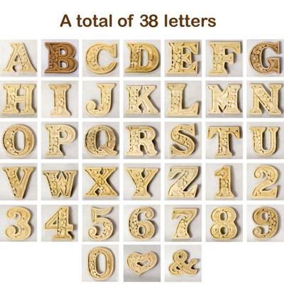英文字母 木雕英文字母、數字 DIY 原木英文字母 雕刻英文字母 英文字 木製拼圖積木 -6cm (5折)