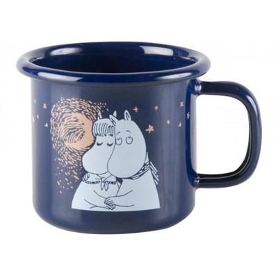 【芬蘭Muurla】嚕嚕米系列-冬季羅曼史琺瑯馬克杯150cc(深藍色)濃縮咖啡杯/琺瑯杯 (7.2折)