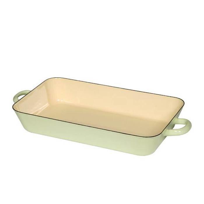 奧地利riess琺瑯雙耳長方型烤盤22x37cm(粉綠色)