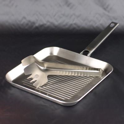 德國雙人ZWILLING 單柄方型平底煎盤24cm+不銹鋼沙拉夾 /露營/烤肉 (5.1折)
