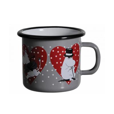 【芬蘭Muurla】嚕嚕米系列-嚕嚕米愛心琺瑯馬克杯250cc(灰色)咖啡杯/琺瑯杯 (8折)