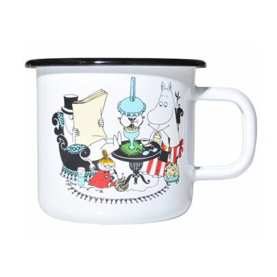 【芬蘭Muurla】嚕嚕米系列-嚕嚕米爸爸和媽媽琺瑯馬克杯370cc(白色)咖啡杯/琺瑯杯 (8折)