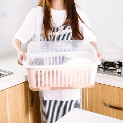 碗櫃塑膠廚房瀝水碗架帶蓋碗筷餐具收納盒放碗碟架滴水碗盤置物架 (3.4折)