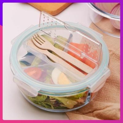304不鏽鋼上班族玻璃飯盒微波爐專用碗分隔保鮮便當帶蓋圓形套裝 (3.1折)