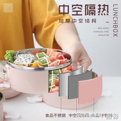 便當盒簡約不銹鋼飯盒保溫分格1成人可愛便當盒學生2韓國3多層4帶蓋餐盒 - 四層北歐綠 餐具 (5.8折)