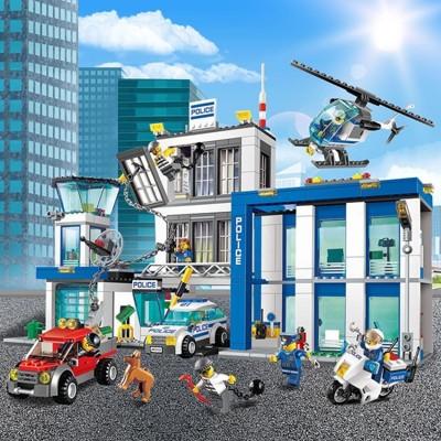 匹配樂高城市系列警察局警系局組兒童男孩子積木拼裝益智玩具警車 (6.8折)