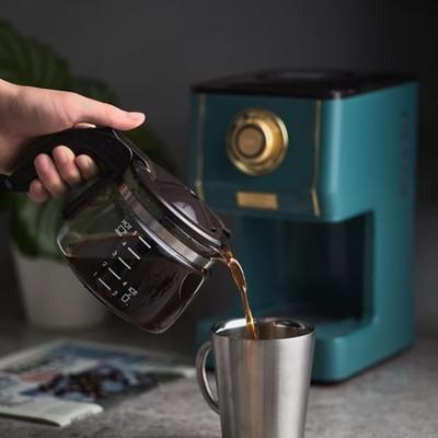 toffy復古美式咖啡機家用型電動滴漏式咖啡壺煮咖啡泡咖啡 墨綠色 220v (8.2折)