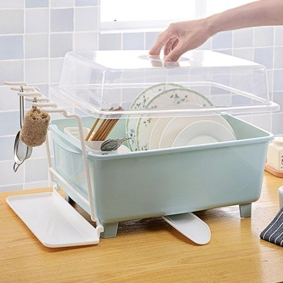 大號塑膠碗櫃廚房瀝水碗架帶蓋碗筷餐具收納盒放碗盤勺濾水置物架 (3.7折)