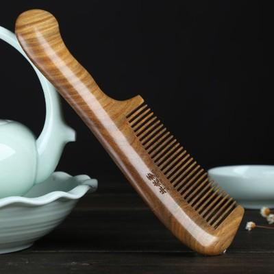 木梳 綠檀木梳子檀香木脫發靜電桃木梳子正品天然木頭防長發男女士專用 (5.7折)