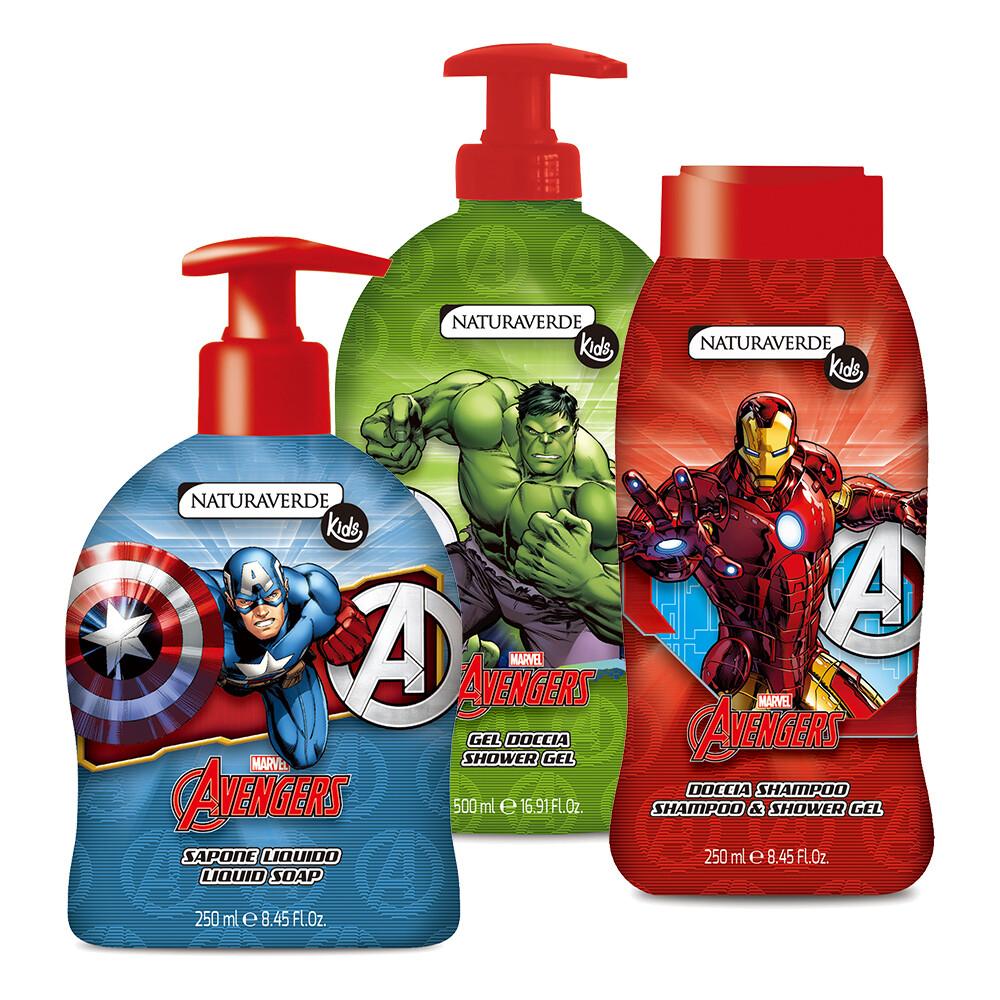 下單送口罩義大利原裝進口avengers卡通兒童洗髮沐浴露超值組(三件組)