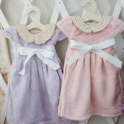 衣架掛式蝴蝶結小洋裝柔軟珊瑚絨吸水擦手巾 (4.8折)