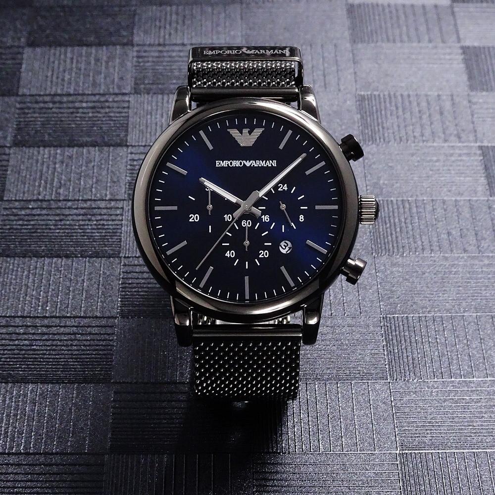 armani低調的沉穩計時優質個性米蘭帶腕錶-黑+藍-ar1979