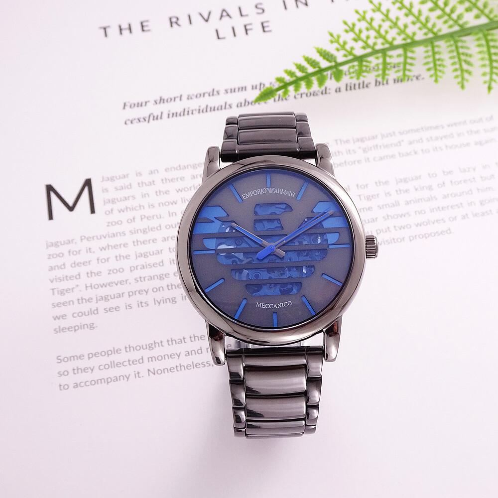 armani 老鷹展翅鏤空造型時尚機械鋼帶腕錶-黑+藍-ar60029
