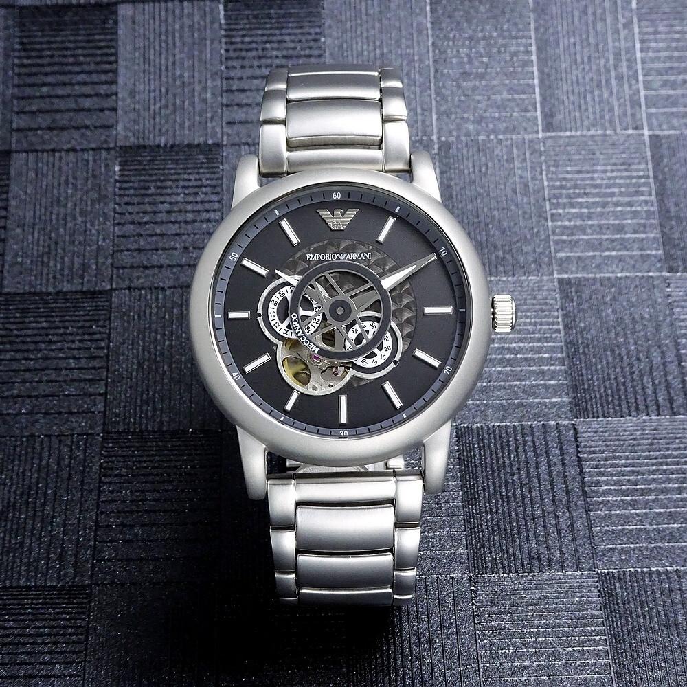 armani 環環相扣鏤空造型時尚機械鋼帶腕錶-灰-ar60021
