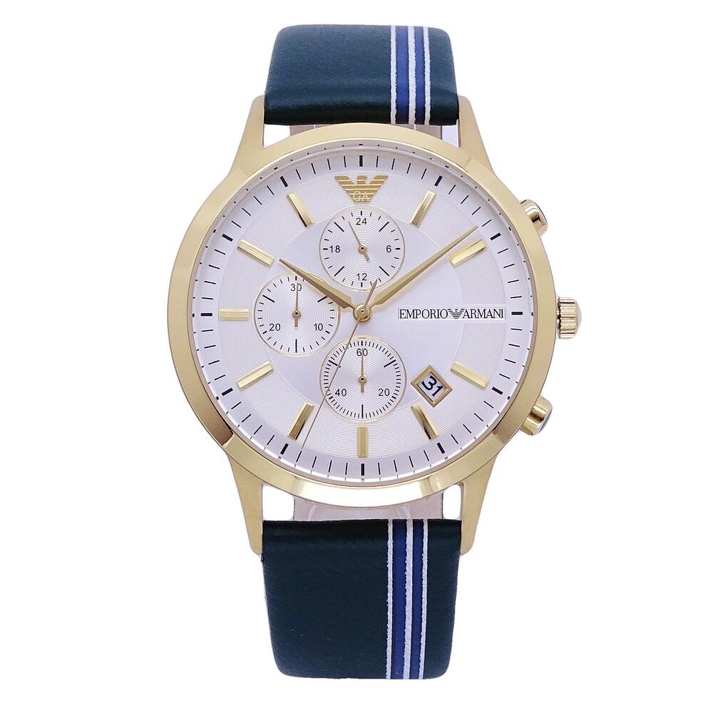 armani 俠客菁英時尚優質三眼計時優質腕錶-金+綠色-ar11233
