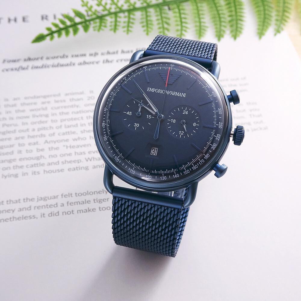 armani 米蘭時尚之神降臨優質品味腕錶-深藍-ar11289