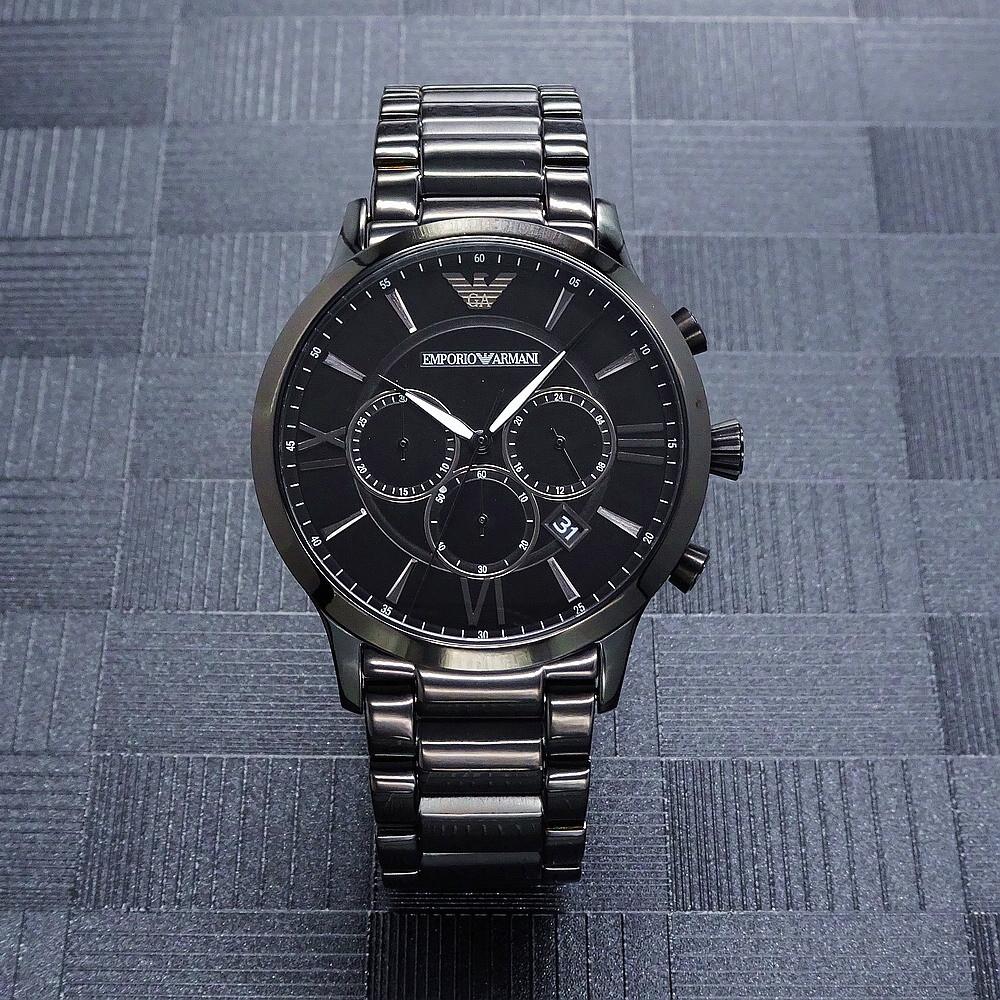 armani 俠客菁英時尚優質三眼計時優質腕錶-黑-ar11349