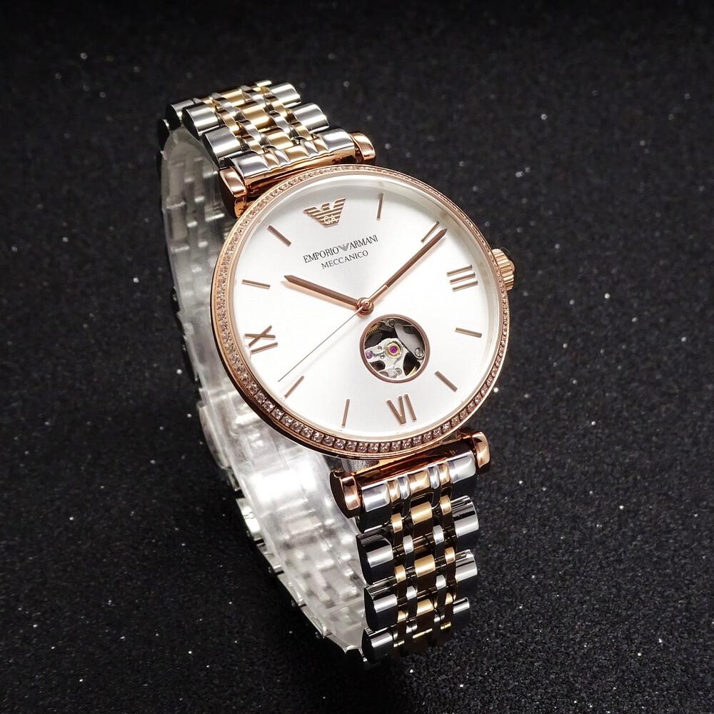 armani 優雅美人時尚經典鏤空機械鋼帶腕錶-半金-ar60019