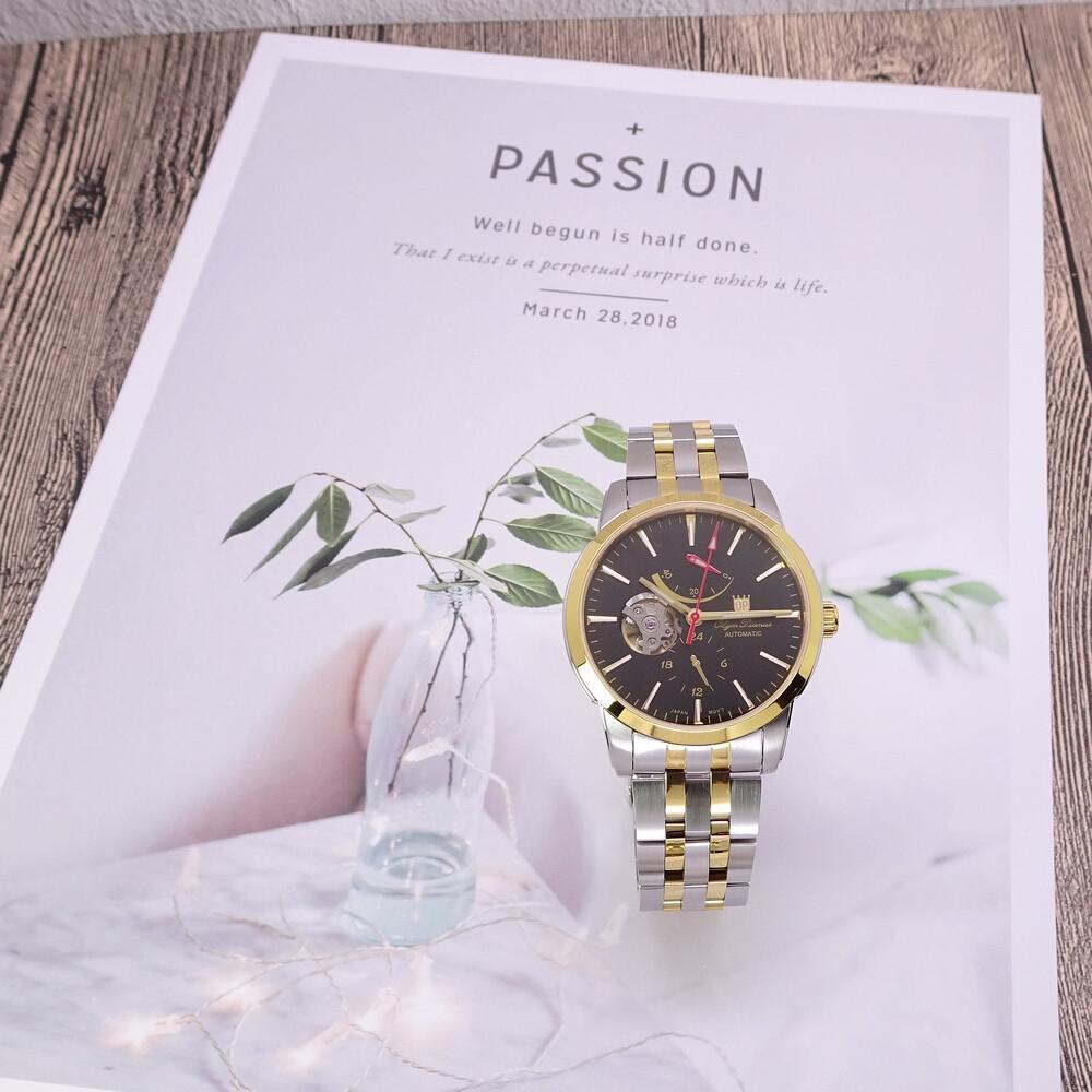 olym pianus 奧柏表 動力顯示鏤空造型機械式腕錶-半金+黑面-9915-84agsk