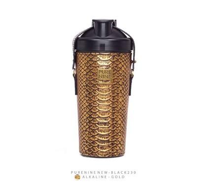 韓國PURENINE BOTTLE時尚鹼性水生成水壺(二代黑內瓶)-奢華金皮套 (4.3折)