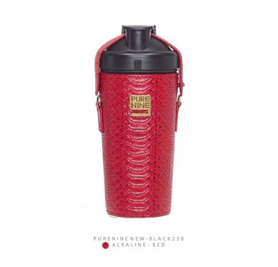 韓國PURENINE BOTTLE時尚鹼性水生成水壺(二代黑內瓶)-胭脂紅皮套 (4.3折)