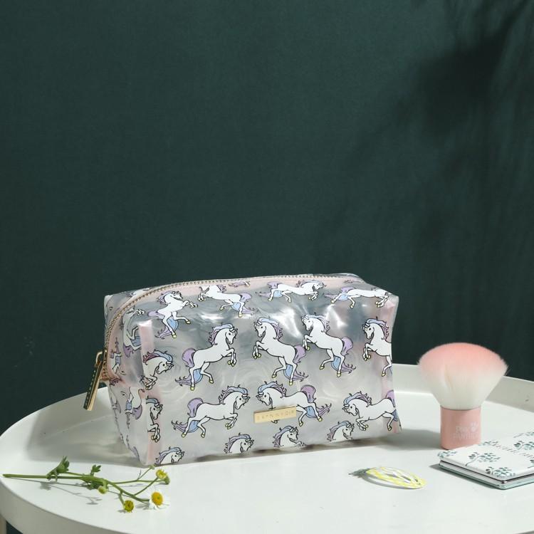 矽膠獨角獸 英倫風 霧面半透明 防水 化妝包 盥洗包 旅行收納包 萬用整理包sbh41
